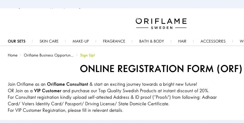 register new member in oriflame website main