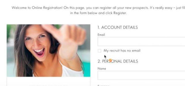 Register new Member in Oriflame form details