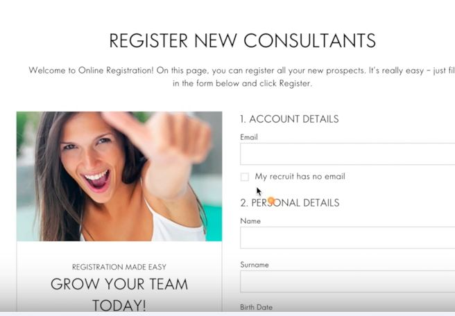Register new Member in Oriflame form details